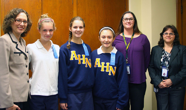 From left to right: Principal Camille Jowanna, Elizabeth Dolan, Carly Fisher, Brunilda Conteras, Freshmen Class Moderator Devan Adams, and Assistant Principal Florie Buono.