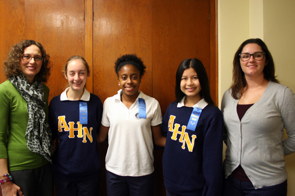 Award winners (from left to right) Hope Stephens, Khalea Armstrong, and Marie Dela Cruz with Principal Camille Jowanna and Freshmen Sponsor Ms. Devan Adams