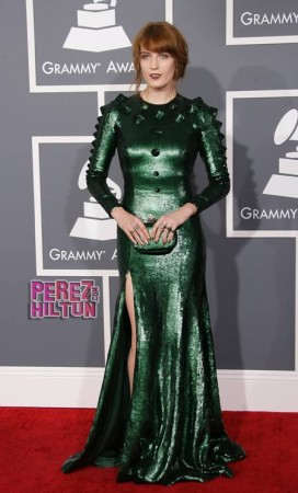 Florence Welch 2013 Grammys gown left a reptilian impression on the viewers.