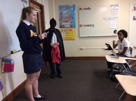 "Sophomore, Kendall Bulleit, is ""victimized"" by the Grimm Reaper and reads her story to her friends."