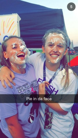 Juniors Audrey Cooper and Karlee Nipper literally 'pied cancer in the face'