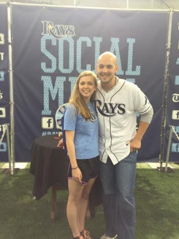 Senior Kate Huete meeting Grayson Garvin at Rays Fan Fest.