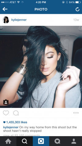 Kylie Jenner poses for a picture taken of her on Instagram