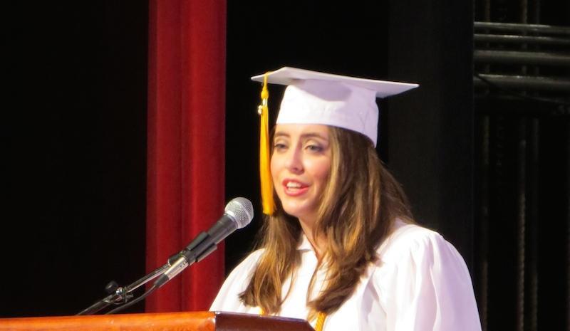 Gillian Earl delivers her Salutatorian speech.