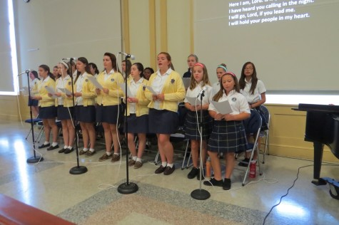 Our amazing choir singing so well during the all school mass