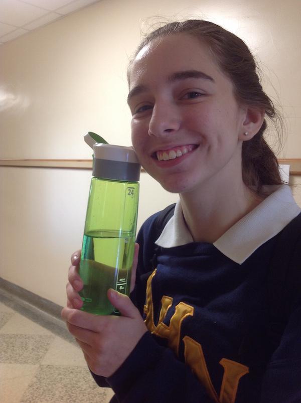 Ally loves her favorite colored bottle