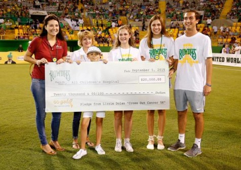 Lizzie and Lindsay at the Tampa Bay Rowdies game showing off the money they have raised for this phenomenal cause along with other board member, Myles Hahn!