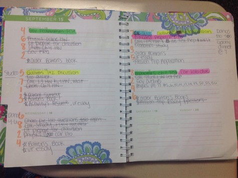 Senior Kelsea Henry school planner helps her stay organized and focus on the tasks she needs to complete. Credit: Jacqueline Brooker
