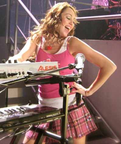 Miley Cyrus on the Best of Both Worlds Tour in 2007. On this tour she brought along her friends, The Jonas Brothers.