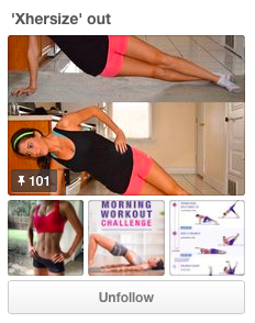 Katherine Hahn puts forth her creativity in the title of her workout Pinterest board
