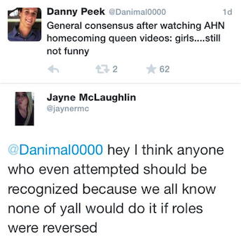 Senior Top 10 candidate Jayne McLaughlin defends fellow Academy Homecoming Queen applicants on Twitter.