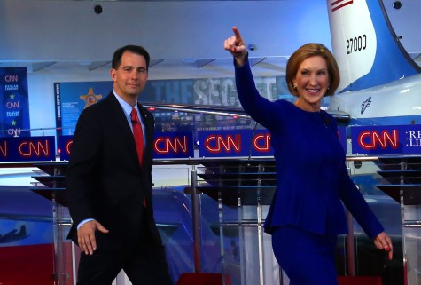 Former candidate Scott Walker and Candidate Carly Fiorina at the GOP debate.