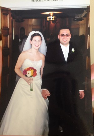 Erin Krukar and her husband, Jared, walking out of the Blessed Marie Rose Durocher Chapel on their wedding day
