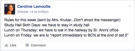 Senior class president, Caroline Lamoutte posts the rules on the Facebook page