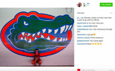 Senior Julia Lester showing off her Gator pride
