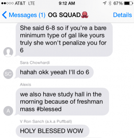 OG Squad texting about an English assignment and study hall.