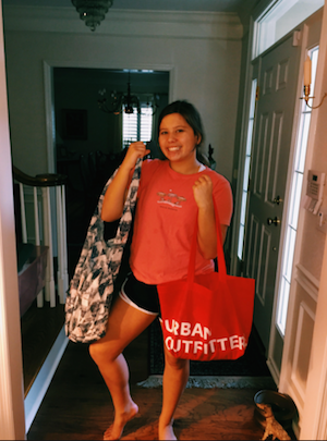 Freshman Isabella Bahr poses with her Black Friday goodies.