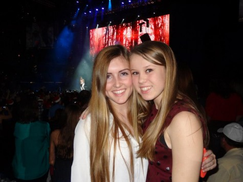 "Seniors Christina Thompson and Gillian Dunne enjoying Justin Bieber at 9.33 FLZ's 2013 Jingle Ball. Christina attests,"" It was so much fun because he played songs off his album plus some Christmas classics including his own, Misletoe."" Credit: Christina Thompson."