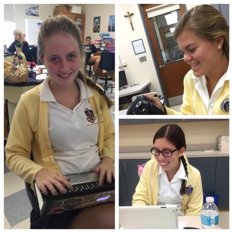 Left: Senior Kendall Lewis, Top Right: Senior Lindsay Boos, Bottom Right: Junior Riley Gillis