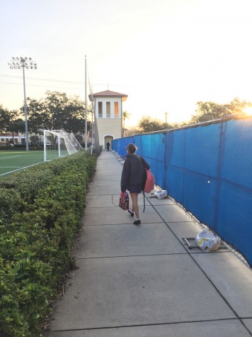 The current record for the dreaded walk is 1:42 from the end of the garage to the gates of the school.