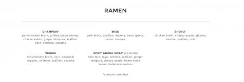 Ichicoro Ramen dinner menu. Credit: Ichicoro.com