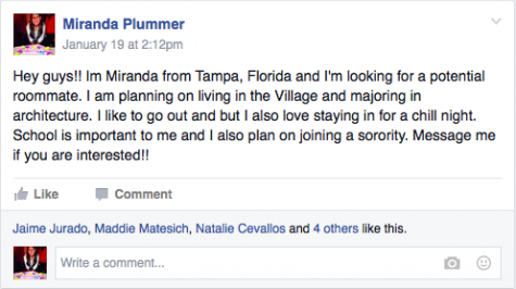 Miranda Plummer's post on the Auburn University Facebook wall looking for roommates. Credit: