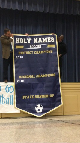 With their district and regional championships this season, the Varsity soccer team made history and finally earned a banner to hang in the gym.