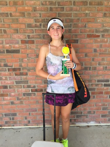 "Avid tennis player, Freshman Caitlin Neal shares, ""I love Lululemon clothes because they are really cute and lightweight."""