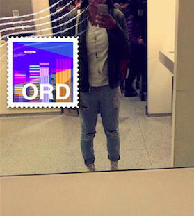 Rylee Johnson sports a bomber jacket in her mirror selfie while traveling, showing that bomber jackets are stylish yet super comfy!