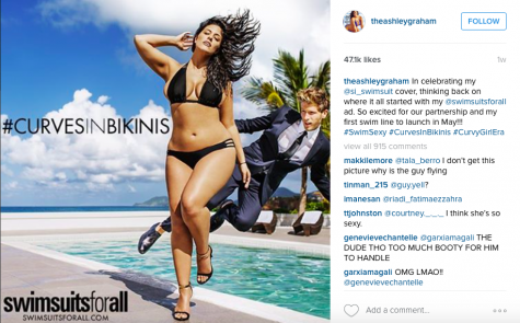 "Model, Ashley Graham showing off her curves for her Rookie of the Year campaign. Jayne McLaughlin states, ""Its truly inspiring and her confidence is contagious."""