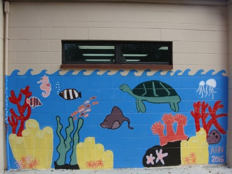 Each of the four subgroups created their own murals depicting sea life and children playing outside. Credit: Rachel Rosales (used with permission)