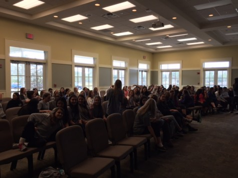 The seniors just arrived to the Bethany Center getting ready for the talk with Dr. Cal.
