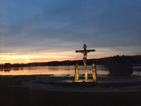Before reading the letters, the seniors sat in the chapel during sunset with the beautiful view of the lake and crucifix.