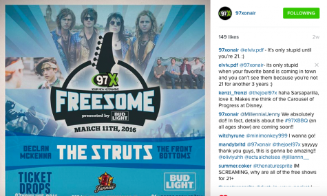 When 97x announced the free show, they were quick to fire back. Credit: 97x online (Instagram)