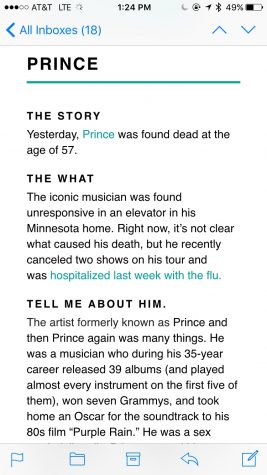 This screenshot shows a typical story, this one in particular was about singer Prince's death from April 22
