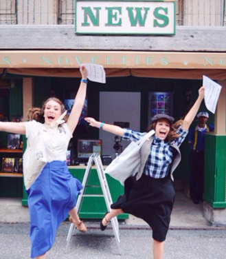 Sister Rachel and Morgan Tata pose in their Newsies- inspired attire at Disney's Hollywood Studios. Credit: Rachel Tata