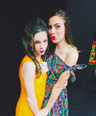 Juniors Lizzie Dolan and Lindsay Calka pose before taking the stage. Credit: Lindsay Calka