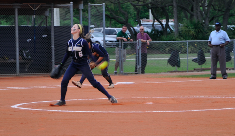 Junior, Allie Weachter pitched in the District Championship game against Tampa Catholic.