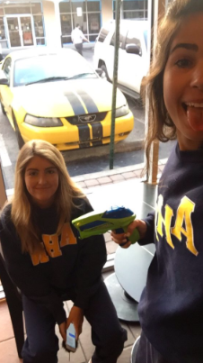 No one ever said anything about Starbucks being off-limits. Senior Isabella Alfonso makes the first kill of the 2016 Water Wars, having targeted Gillian Dunne at the coffee restaurant Monday morning.