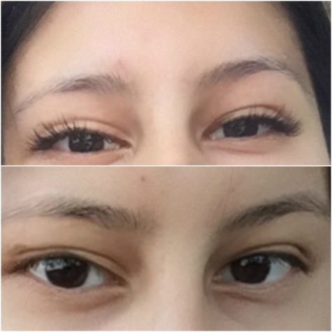 The before and after of my lash extensions. Credit: Pia Roca/Achona Online