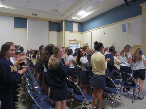 Dohme's presentation rendered a standing ovation from the junior and senior classes.