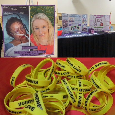 Posters were set up alongside Dohme to help document her personal experience, and trinkets such as wristbands were passed out to promote awareness.