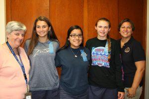Esse Quam Videri winners with Principal Sister Ann Regan and Freshmen Class Moderator, Megan Dubee