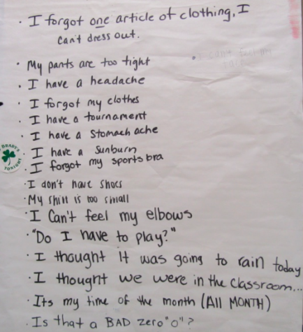 Suskauer's list of excuses can be spotted on the wall of her personal fitness classroom. Credit: Audrey Diaz/ Achona Online