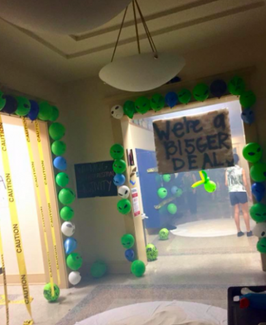 Seniors last year decorated the Junior locker room to match their military theme. Credit: Olivia Diaz (A'15)