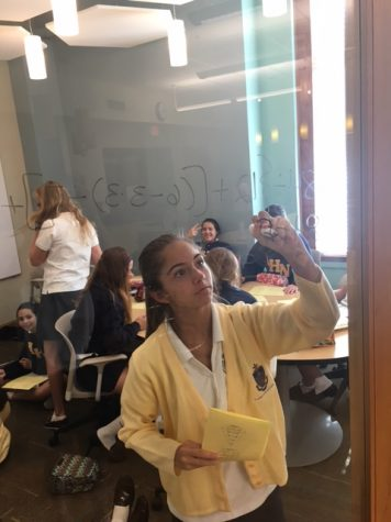 Freshman Olivia Perez hard at work in her Algebra 1 class. Credit: Audrey Diaz/ Achona Online