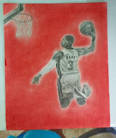 """Olivia Valdez was inspired by her boyfriend, Sam, to create this piece. She comments, """"he is a huge basketball fan."""""""