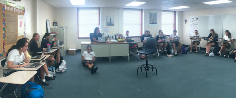 Ms. Olivia Martinez's freshman class working hard on their bell ringer. Credit: Audrey Diaz/ Achona Online