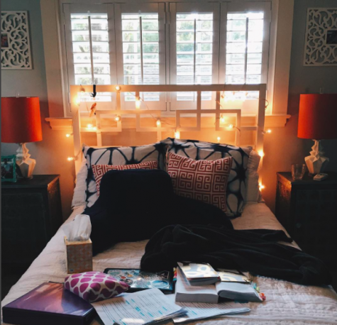 Audrey Dunn, a senior, snaps a picture of her social media free study zone, as seen on her Instagram.