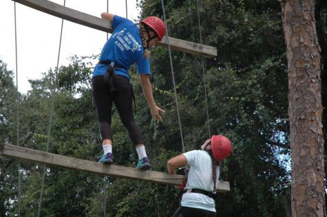 Teamwork was crucial in completing the challenging tasks on the high ropes. Photo Credit: Haley Palumbo (used with permission)